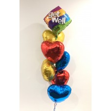 Get Well and 6 Foil Hearts