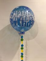 Sparkling Blue Happy Birthday With Garland $28