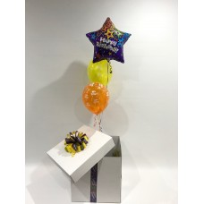 Happy Birthday Foil Star and 2 Printed Happy Birthday Latex Balloons in a Box