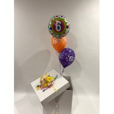 6th Birthday Foil and 2 Printed 6th Latex Balloons in a Box