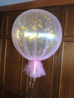3 Foot Gold Confetti With Dusty Pink Tulle $85