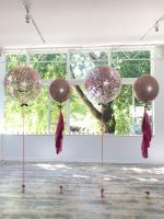 Rose Gold Orb With Tassels $45 each, 3 Foot Confetti $55 each