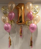 Floor (6) inc 4 Latex & 2 Confetti $53 each & Number 1 With Tassels $42