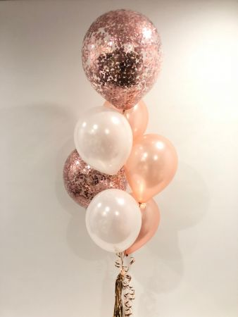 "17"" Confetti, White and Rose Gold Latex $85"