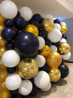 Gold, Navy & White Bubble Wall $750