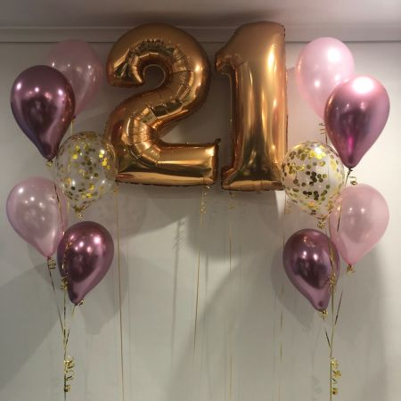 Numbers $37 each & Floor (5) 2 x 11 Pink, Chrome Mauve & Gold Confetti $36 each