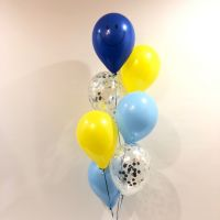Floor (7) Blue, Light Blue, Yellow & Silver Confetti $55
