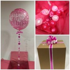 Happy Birthday Pink Sparkling Deco Bubble Balloon in a Box