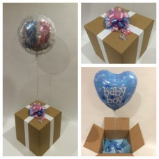 Its A Boy Balloon in a Box Topped With a He or She Balloon