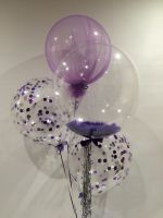 Purple Tulle Feathers and Confetti